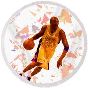 Round Beach Towel featuring the painting Basketball 24 by Movie Poster Prints