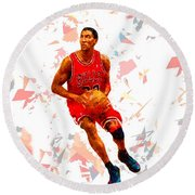Round Beach Towel featuring the painting Basketball 33 by Movie Poster Prints