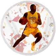 Round Beach Towel featuring the painting Basketball 37 by Movie Poster Prints