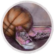 Basketball And Pink Shoes Round Beach Towel by Dani Abbott