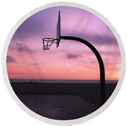 Basketball Court At Sunset Round Beach Towel