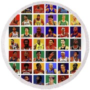 Basketball Legends Round Beach Towel