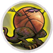 Basketball Saurus Rex Round Beach Towel