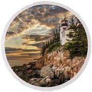 Bass Harbor Head Lighthouse Sunset Round Beach Towel