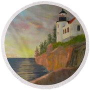 Bass Harbor Light Round Beach Towel