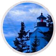 Bass Harbor Lighthouse Blue #2 Round Beach Towel