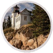 Bass Harbor Lighthouse Round Beach Towel