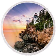 Bass Harbor Lighthouse Sunset Round Beach Towel