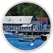 Bass Harbor Maine Round Beach Towel