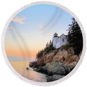 Bass Harbor Sunset II Round Beach Towel by Elizabeth Dow