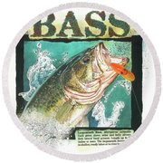 Round Beach Towel featuring the painting Bass by John Dyess