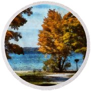 Bass Lake October Round Beach Towel