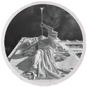 Round Beach Towel featuring the photograph Bass Performance Hall Angel by Guy Whiteley