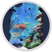 Round Beach Towel featuring the painting Bass Pro Outdoor World by Ed Heaton