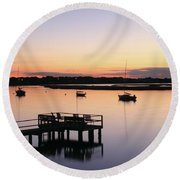 Round Beach Towel featuring the photograph Bass River Before Sunrise by Roupen  Baker