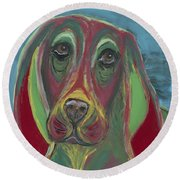 Round Beach Towel featuring the painting Basset Hound Abstract by Ania M Milo