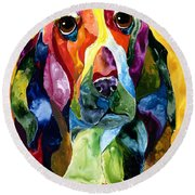Basset Hound Blues Round Beach Towel