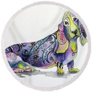 Round Beach Towel featuring the painting Basset Hound Horace by Patricia Lintner