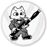Bassoon Cat Round Beach Towel