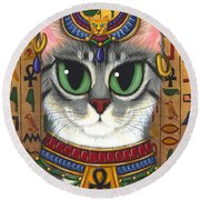 Bast Goddess - Egyptian Bastet Round Beach Towel