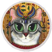 Round Beach Towel featuring the painting Bast Goddess - Egyptian Bastet by Carrie Hawks