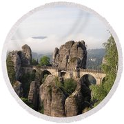 Bastei Bridge In Saxon Switzerland Round Beach Towel