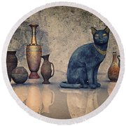 Bastet And Pottery Round Beach Towel by Jutta Maria Pusl