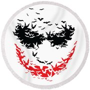 Bat Face Round Beach Towel