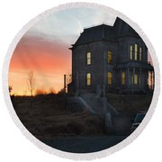 Bates Motel At Night Round Beach Towel by Jim  Hatch