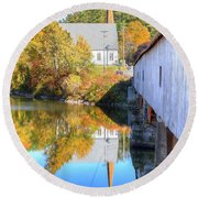 Bath Covered Bridge Round Beach Towel