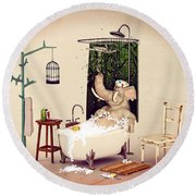 Bath Time Round Beach Towel by Methune Hively