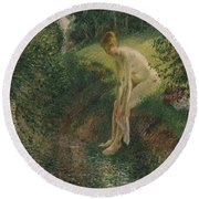 Bather In The Woods, 1895 Round Beach Towel