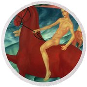Bathing Of The Red Horse Round Beach Towel by Kuzma Sergeevich Petrov-Vodkin