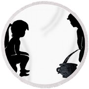 Bathroom Silhouettes Round Beach Towel