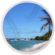 Round Beach Towel featuring the photograph Bathsheba, Barbados, by Kurt Van Wagner