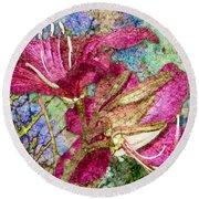 Batik Lilies Round Beach Towel