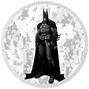 Round Beach Towel featuring the mixed media Batman Splash Super Hero Series by Movie Poster Prints