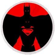 Batman/superman Round Beach Towel