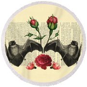 Bats With Angelic Roses Round Beach Towel