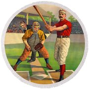 Batter Up 1895 Round Beach Towel by Padre Art