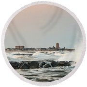 Battering The Shark River Inlet Round Beach Towel by Gary Slawsky