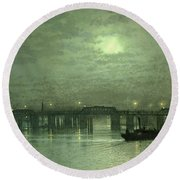 Battersea Bridge By Moonlight Round Beach Towel by John Atkinson Grimshaw