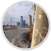 Battery Park Round Beach Towel by Henri Irizarri