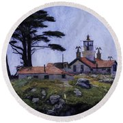 Battery Point Lighthouse Crescent City California Round Beach Towel