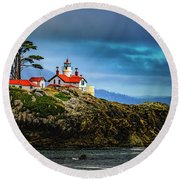 Battery Point Lighthouse Round Beach Towel by Janis Knight