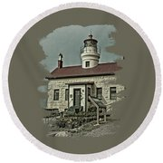 Battery Point Lighthouse Round Beach Towel