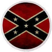 Battle Scarred Confederate Flag Round Beach Towel by Randy Steele