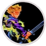 Battle Stance Trunks Round Beach Towel