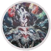 Round Beach Towel featuring the painting Battle With The Prince Of Persia by Cheryl Pettigrew