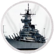 Battleship New Jersey Round Beach Towel by Kevin Fortier